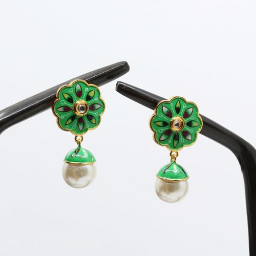 Parrot Green Base Floral Meenakari Art Earrings