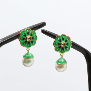 Parrot Green Base Floral Meenakari Art Earrings