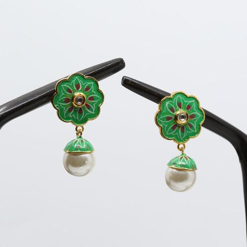 Stud Designed green Meenakari Earrings