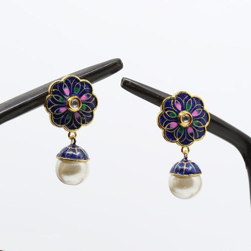 Gold plated Flower Designed Meenakari Earrings