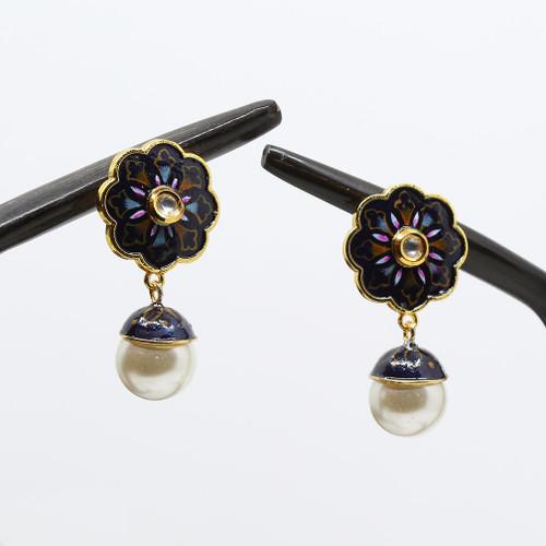 Gold plated Flower Designed Studded Kunden Meenakari Earrings