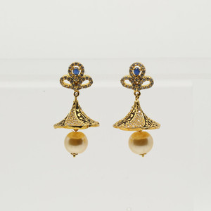 Jhumka Earrings with Sapphire Blue Stones
