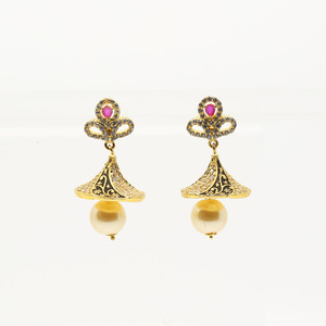 Jhumka Earrings with Hot Pink Stones