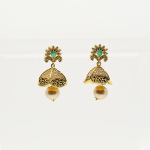 Classic CZ Emerald Green Ethnic earrings