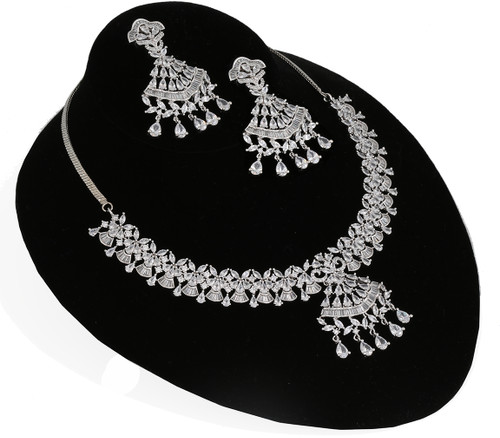 Silver plated Clear Cubic Zirconia Necklace Set