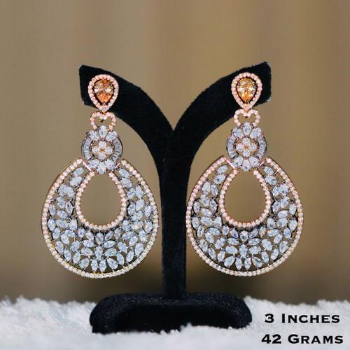 American Diamond CZ Earrings with Yellow Gold Stone