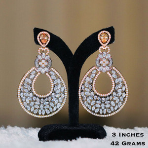 American Diamond CZ Earrings with Yellow Gold Stone