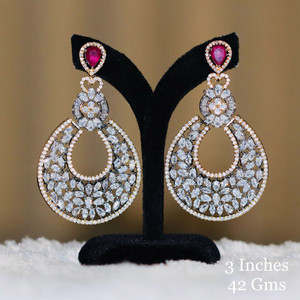 American Diamond CZ Earrings with Pink Sapphire