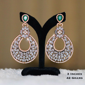 American Diamond CZ Earrings with Emerald Green