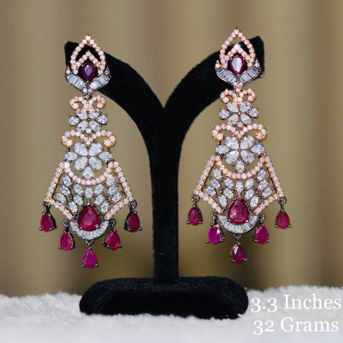 American diamond gold plated Ruby stone earring