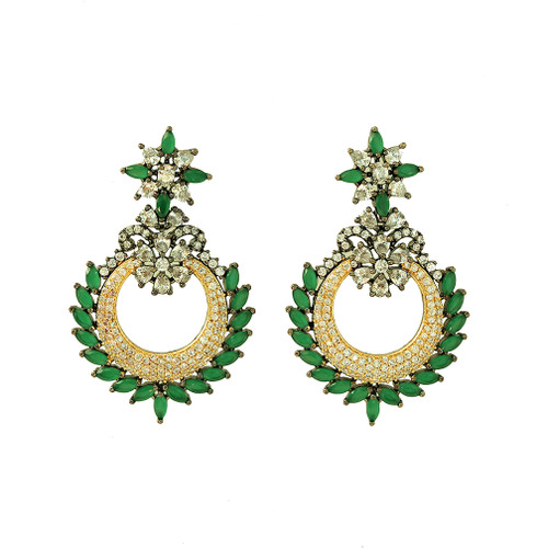 Flower Filigree Emerald Green Chaand Bali Dangle Earrings