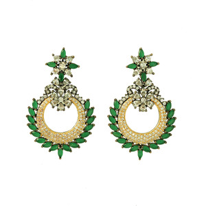 Flower Filigree Emerald Green Chaand Bali Dangle Earrings