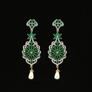 Dangling Earring with Semiprecious Emerald Green American Diamond and Kundan
