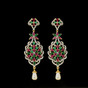 Multicolor American Diamond And Kundan jewelry