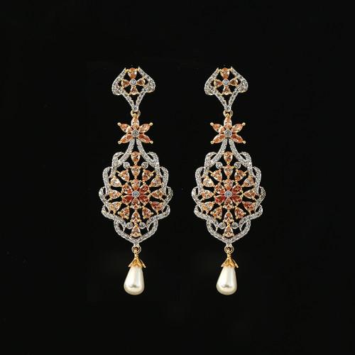 Semiprecious Golden Color American Diamond and Kundan