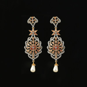 Semiprecious Golden Color American Diamond and Kundan