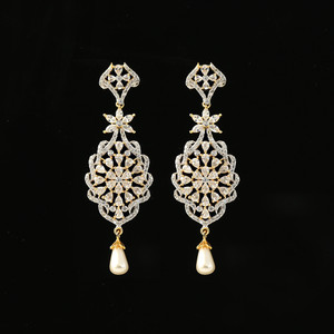 Dangling Earring with Semiprecious Clear Crystal American Diamond