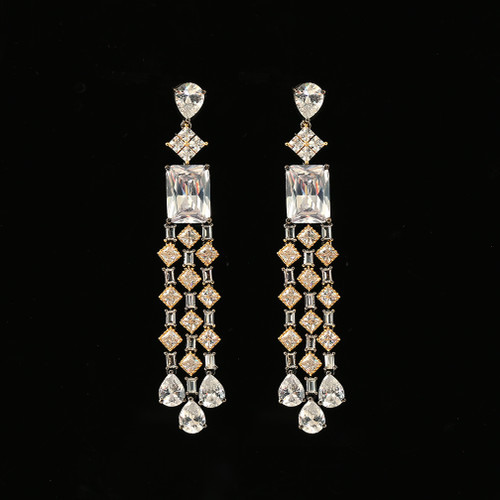 Gold and Rhodium Plated White Stone Earring