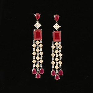 Gold and Rhodium Plated Pink Sapphire Stone Earring