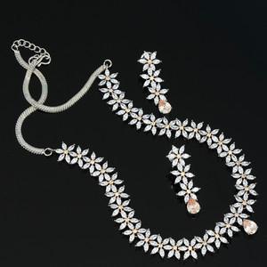 cubic zirconia floral design choker necklace