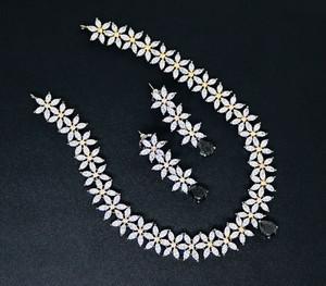 bridal wear Blue cubic zirconia necklace