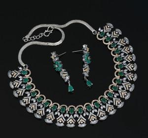 Emerald Cubic Zircon Jewellery Set Wedding Bridal Necklace
