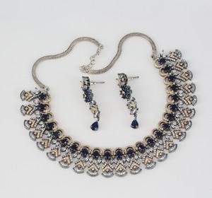 Sapphire Blue Cubic Zircon Jewellery Set Wedding Bridal Necklace