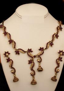 Indian Fashion Gold plated Lavender Polki set-03PLK01