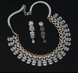 Topaz Cubic Zircon Jewellery Set Wedding Bridal Necklace
