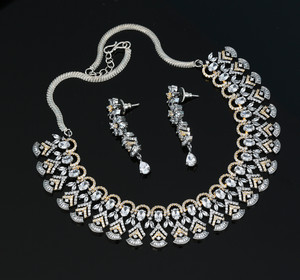 Clear Cubic Zircon Jewellery Set Wedding Bridal Necklace