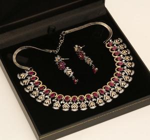 Ruby Cubic Zircon Jewellery Set Wedding Bridal Necklace