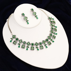 Emerald American Diamonds White Gold and Rhodium Plated necklace