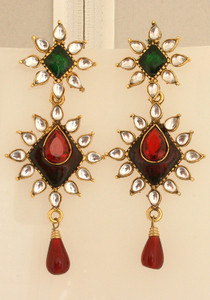 Impressive pair of Kundan Earrings with pear shaped white and red crystals-KE1