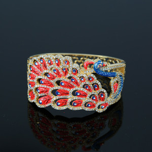 White Zircon stone Meenakari Enamel Peacock Designer Bangle