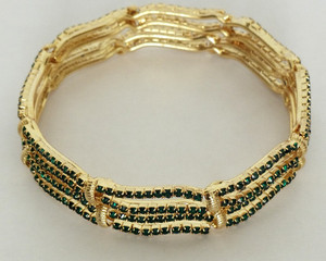Gold plated bangle embedded with Green cubic zirconia-12BAN06