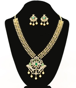 Emerald Cubic Zircon Stones Gold Plated  necklace