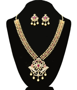 Pink Cubic Zircon Stones Gold Plated necklace