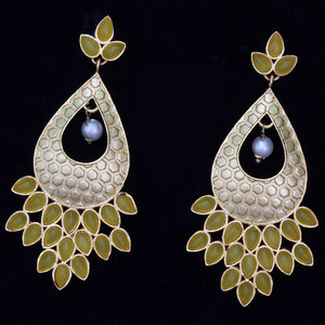 Yellow Kundan Stone Fashion Dangling Earrings