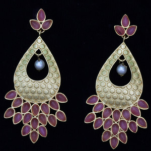 Ruby Kundan Stone Fashion Dangling Earrings