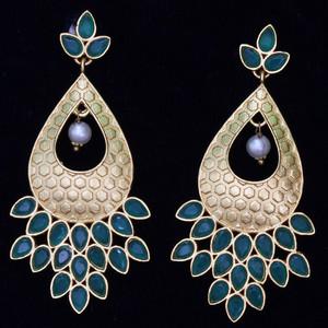 Light Blue Kundan Stone Dangling Earrings