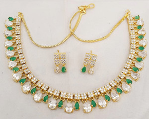 American Diamond Emerald and Clear Stones Gold Plated Short Necklace