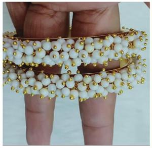 White Beads Cluster Pearl bangles Kada Bracelet