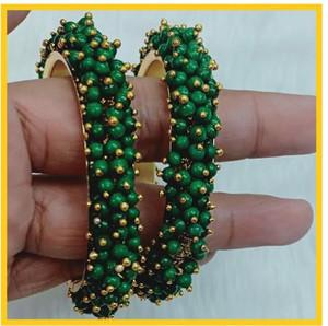 Green Beads Cluster Pearl bangles Kada Bracelet