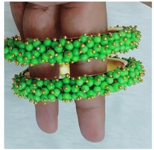 Lime Green Beads Cluster Pearl bangles Kada Bracelet
