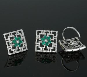 Green Cubic Zirconia Stone Stud earrings