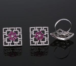 Pink Cubic Zirconia Stone Stud earrings