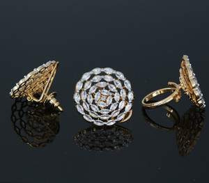 White CZ Stone Studded Gold Plated Stud earrings and Adjustable Ring