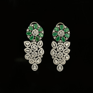 Green flower Crystal Rhinestone Grape Clip on  earrings