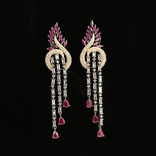 Pink and Clear Rhinestone Long Tassel Party Wear Dangle Earrings