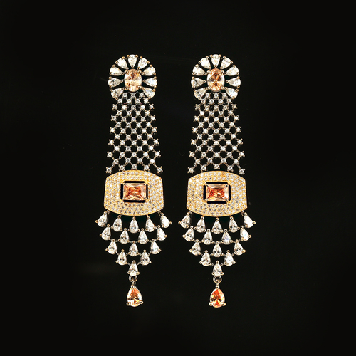 Golden Cubic Zircon Stones and Clear Rhinestone Settings earrings